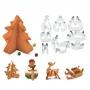 Sütikiszúró forma 3D - fenyőfa, hóember - 16 db / szett