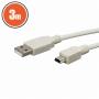 USB kábel A dugó - B dugó (mini) 3,0 m